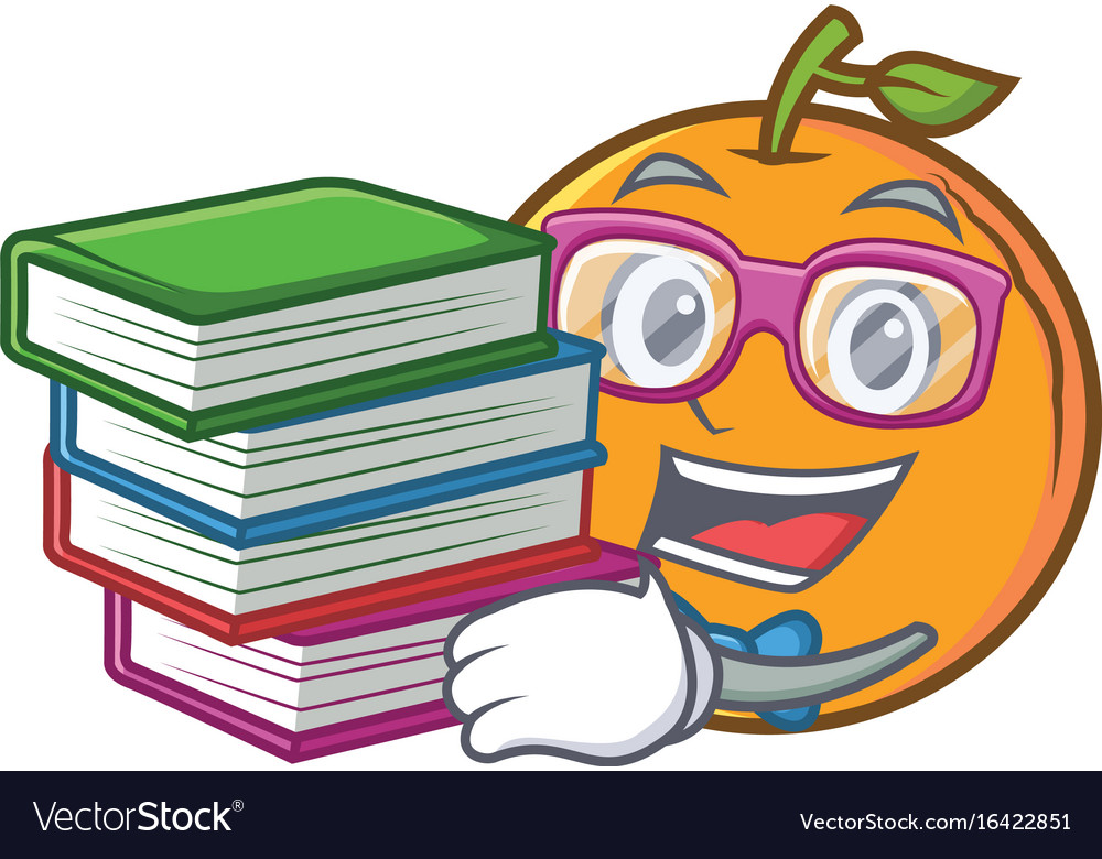 Student with book orange fruit cartoon character vector image