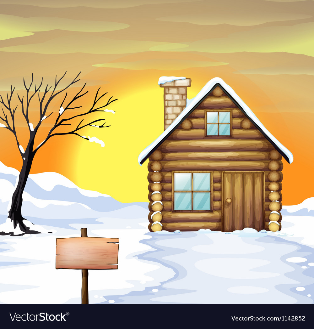 Log cabin and dead tree Vector Image