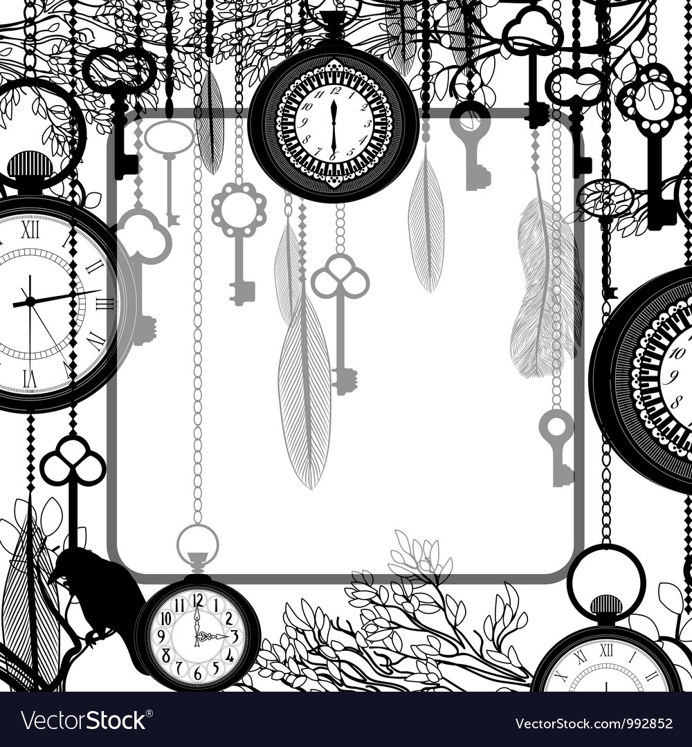 Black and white background with tree branches and vector image