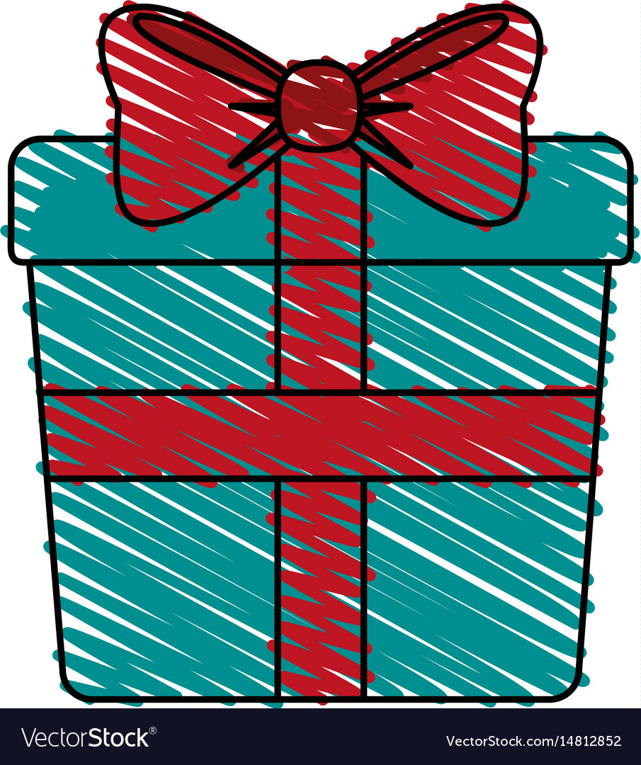 Color crayon stripe image giftbox with wrapping vector image