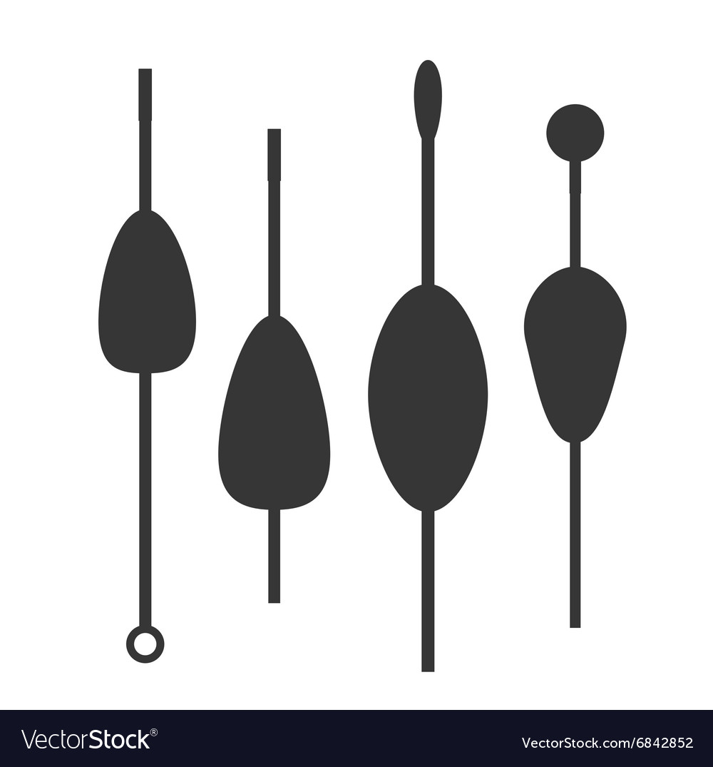 Fishing bobbers flat icons vector image