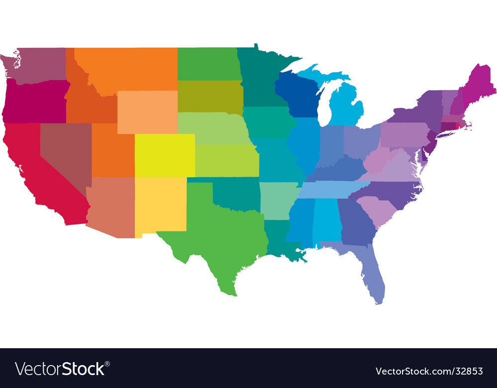 Usa Rainbow Royalty Free Vector Image VectorStock - Free usa map vector