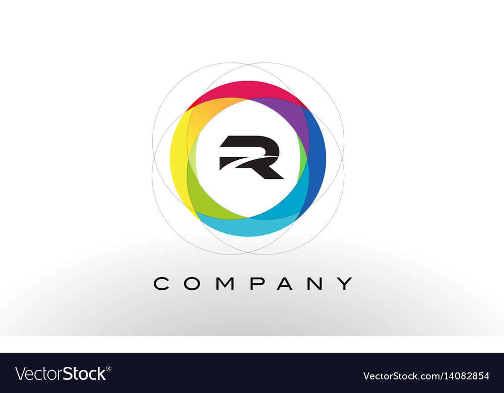 R letter logo with rainbow circle design vector image