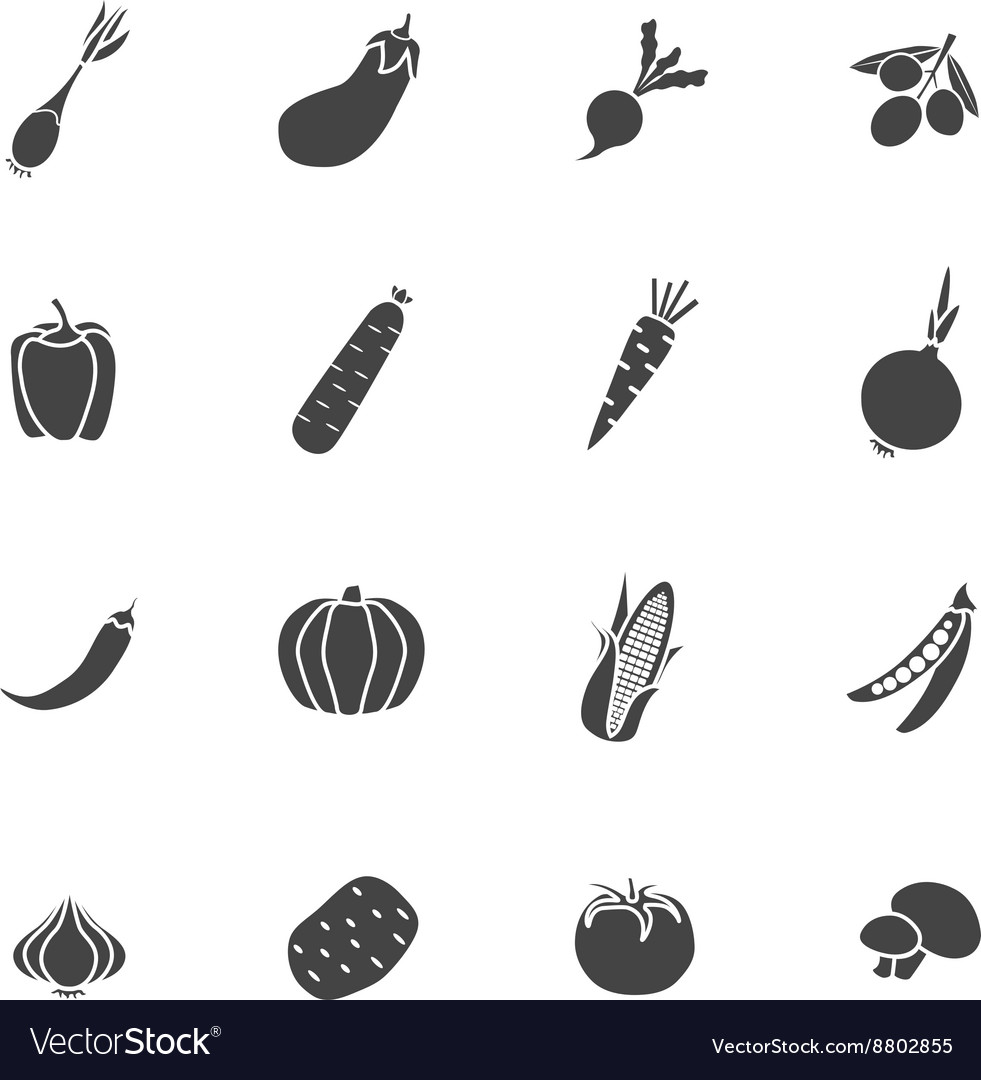 Vegetables Sillhouette Isolated Icon Flat Set vector image