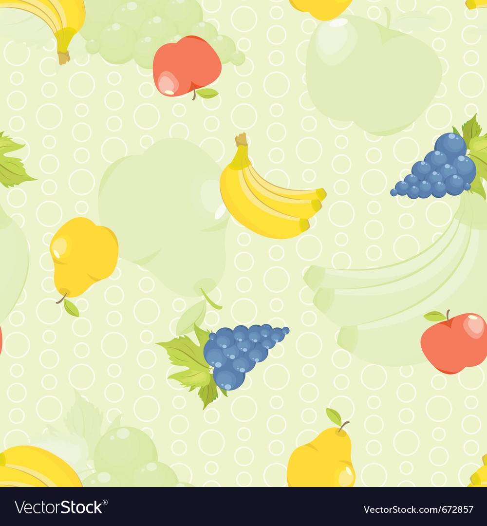 Seamless background with cartoon fruit apples pear vector image