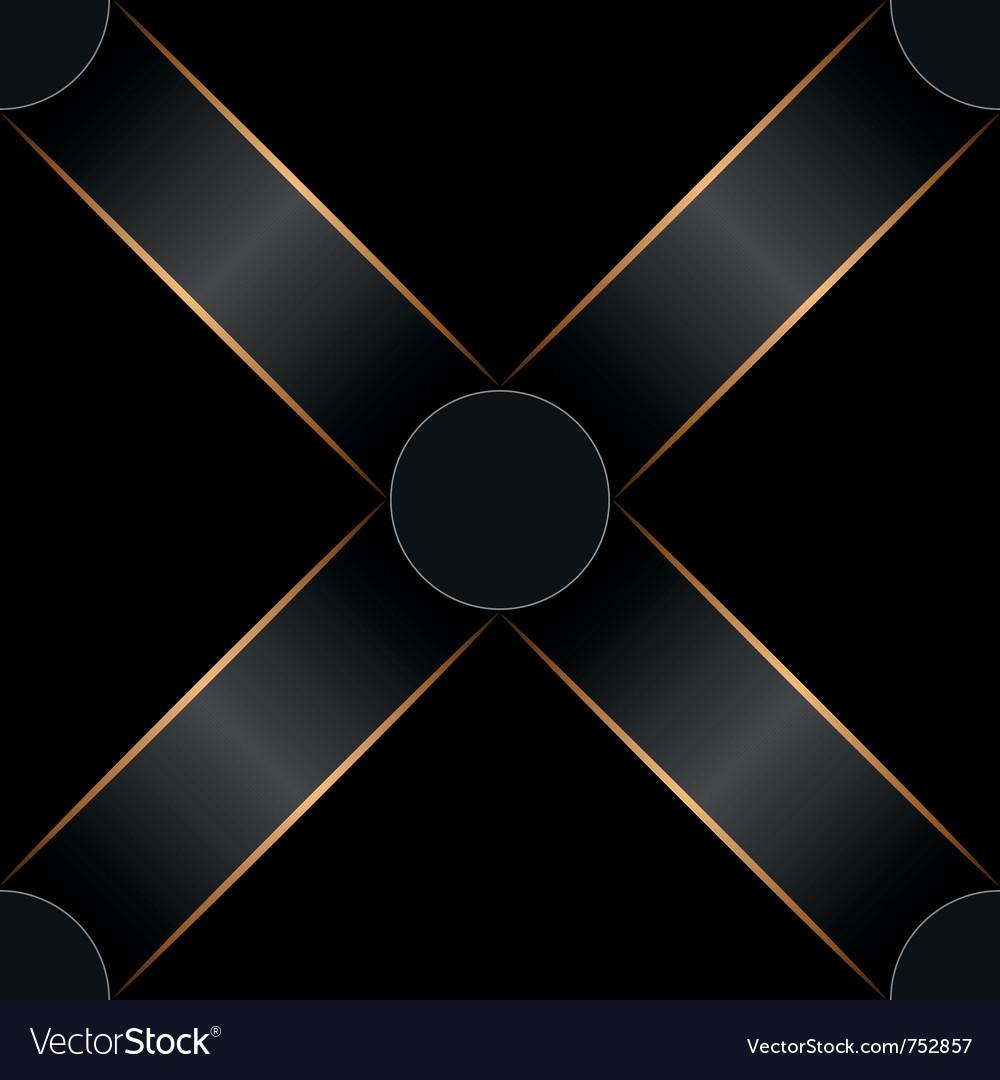 Seamless black ribbon and gold strip pattern vector image