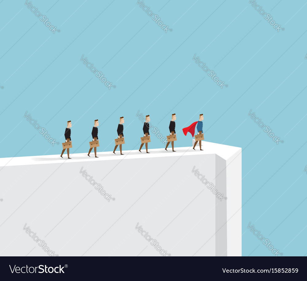 Business leader businessman standing on arrow way vector image