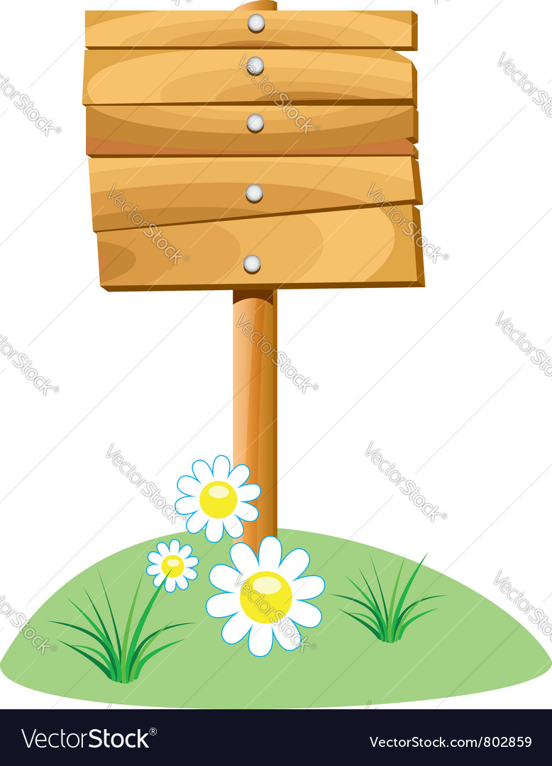 Wooden board and grass vector image