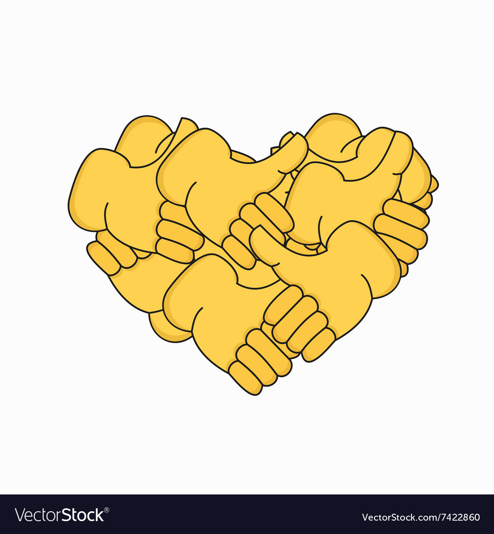 Modern thumbs up the form of heart isolated vector image