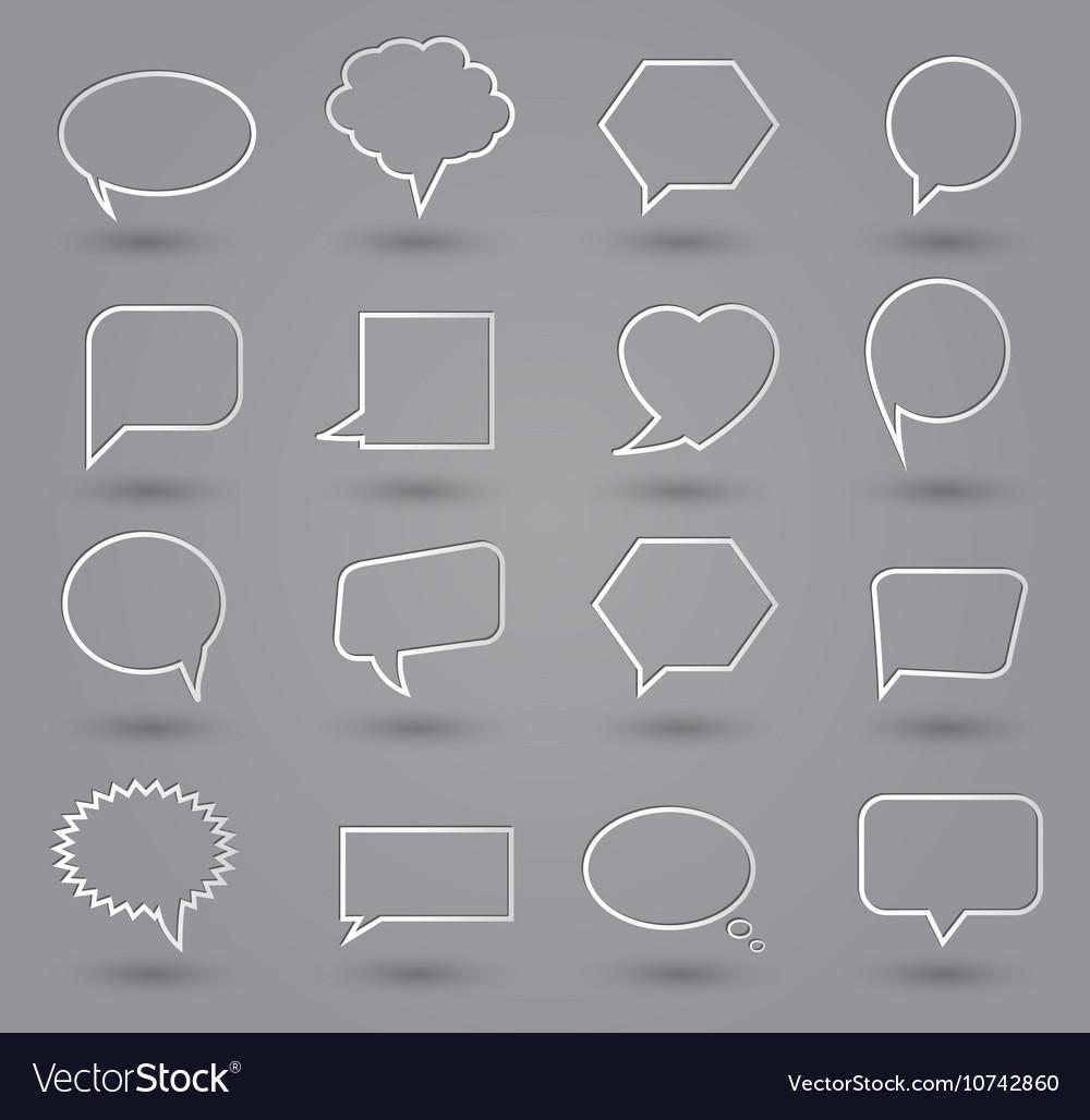 Speech bubbles thin grey vector image