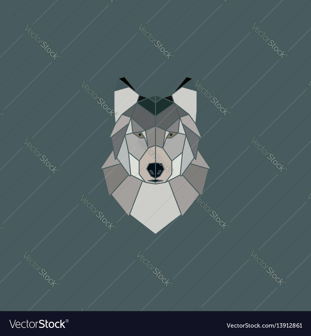 Wolf head geometric flat design style vector image