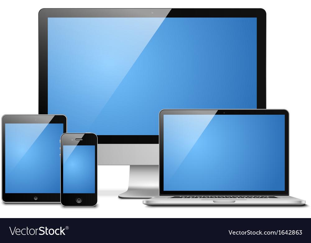 Laptop tablet desktop mobile vector image