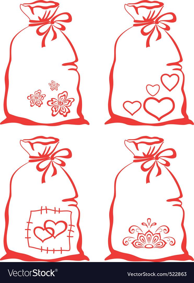 Valentine symbol on bag set vector image