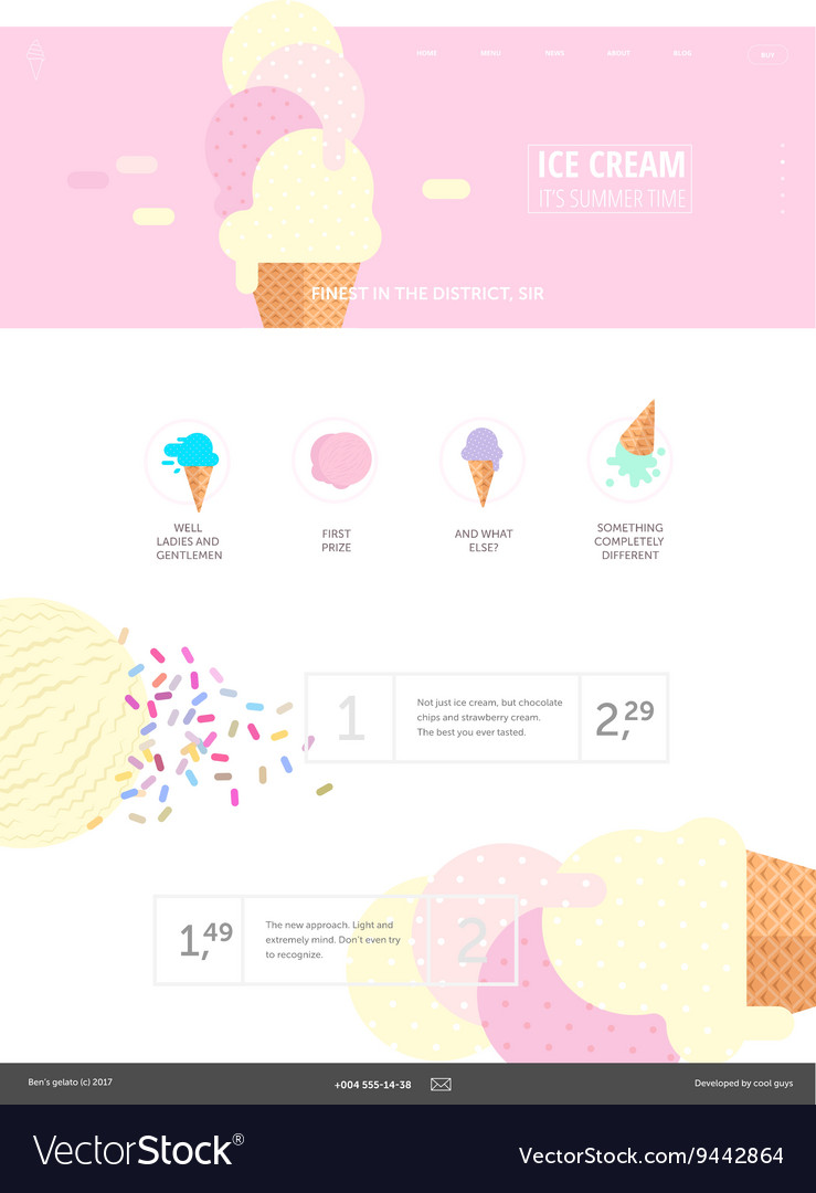 Ice cream website pink template Royalty Free Vector Image