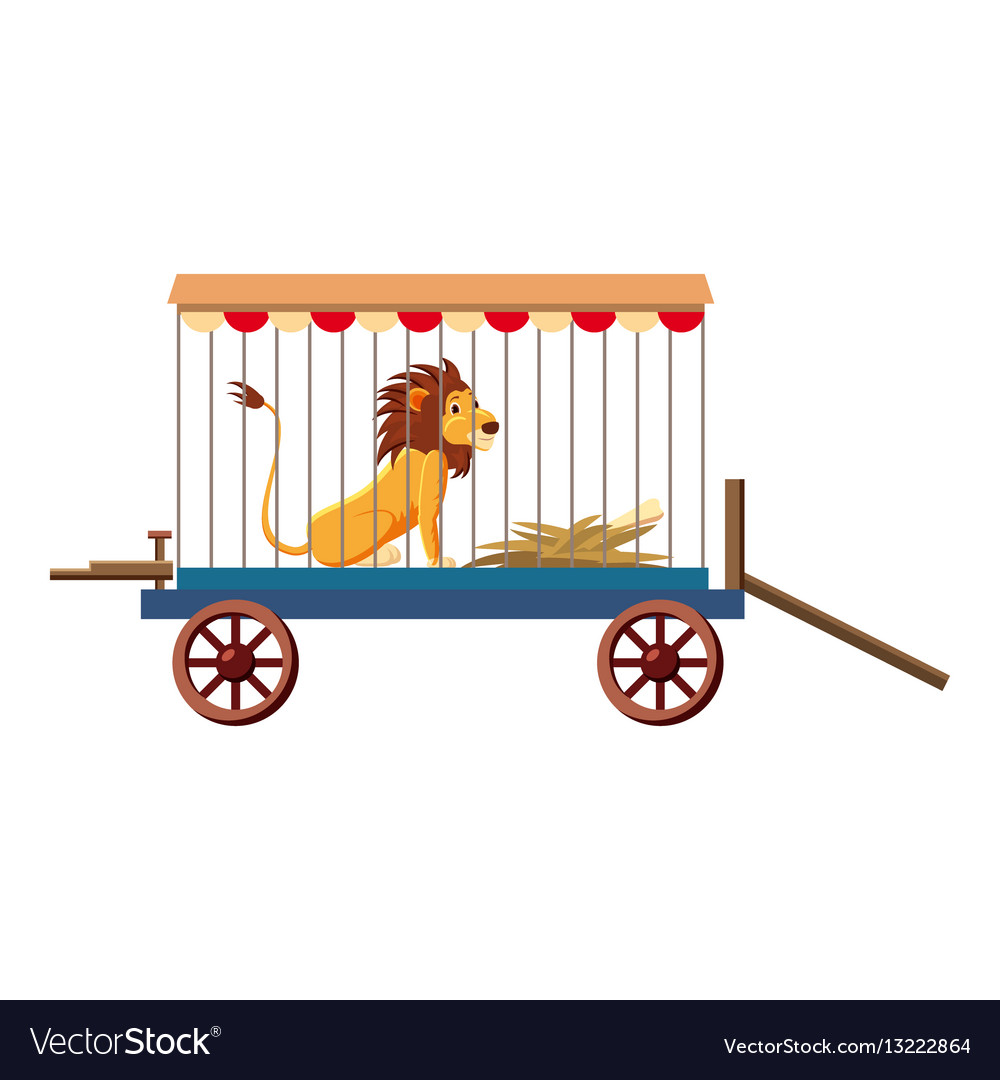 Lion in cage icon cartoon style vector image