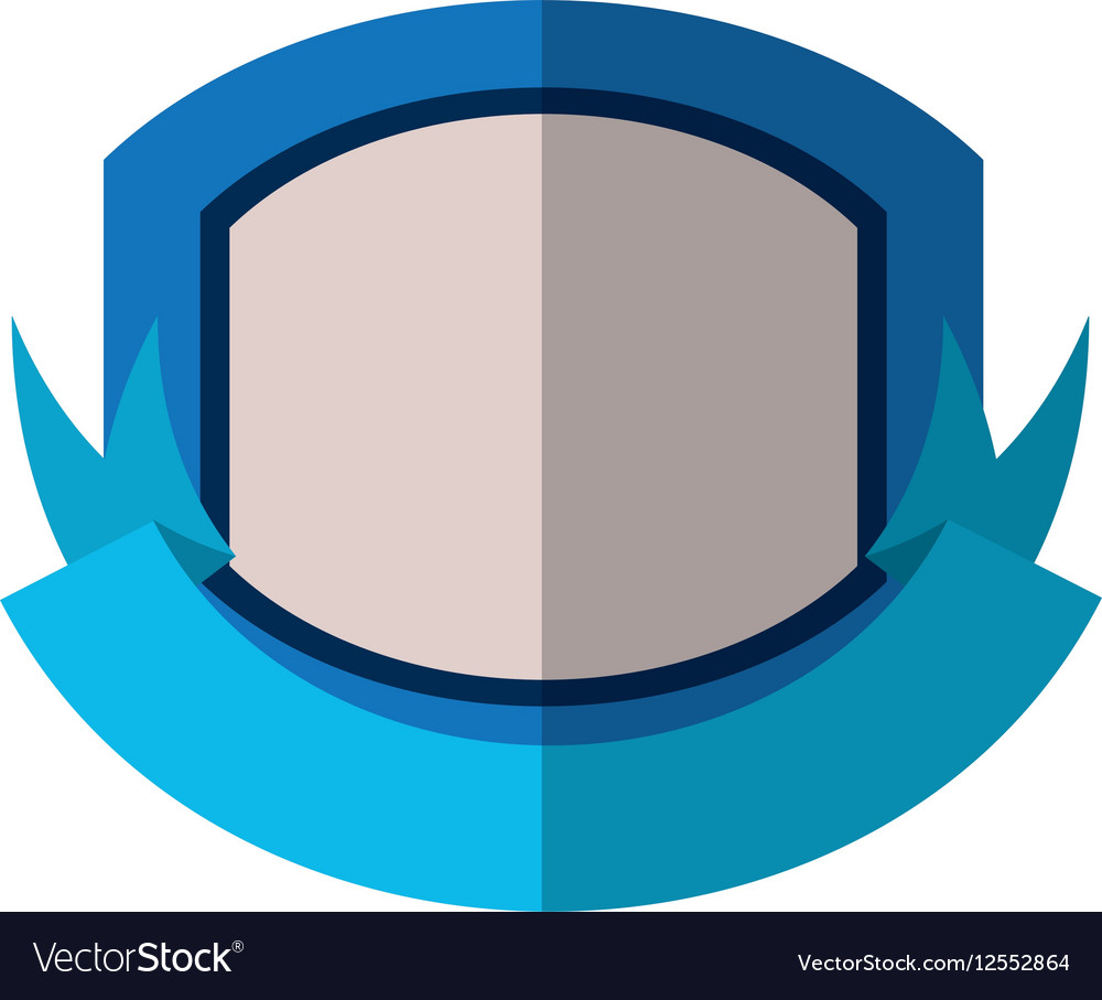 Red shield with white background and blue ribbon vector image