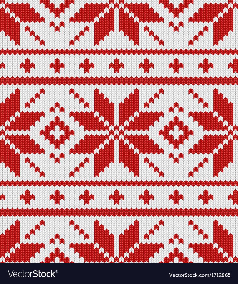 Skandinavian red knitted pattern vector image