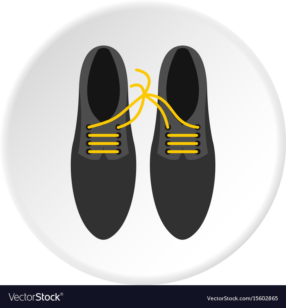 Tied laces on shoes icon circle vector image