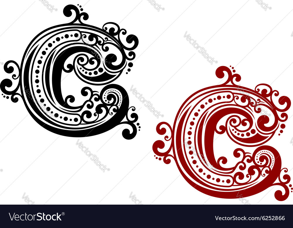 Capital letter C with curly elements vector image