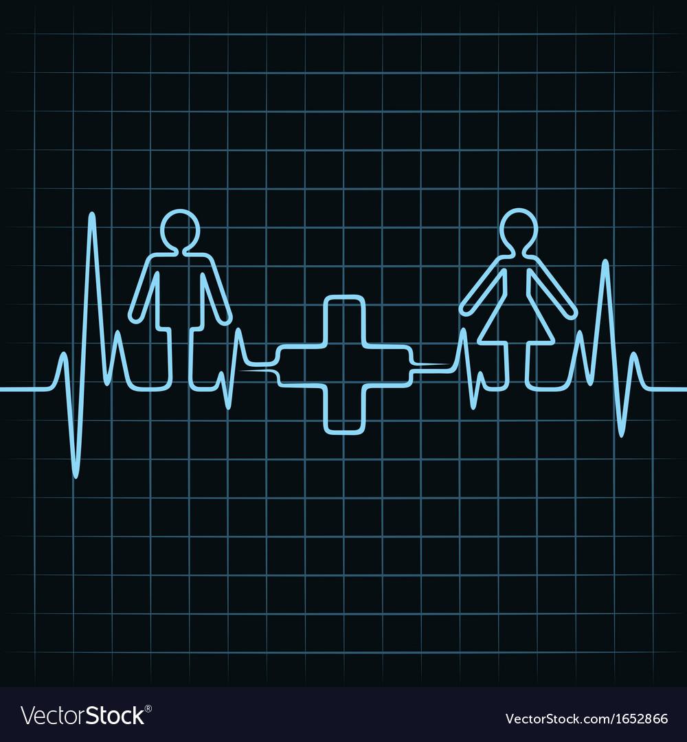 Heartbeat make malefemale and medical symbol vector image heartbeat make malefemale and medical symbol vector image buycottarizona