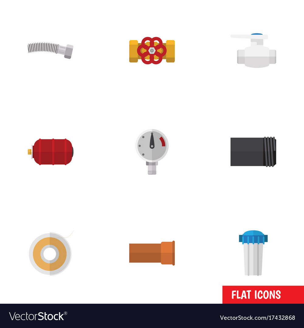 Flat icon plumbing set of corrugated pipe vector image