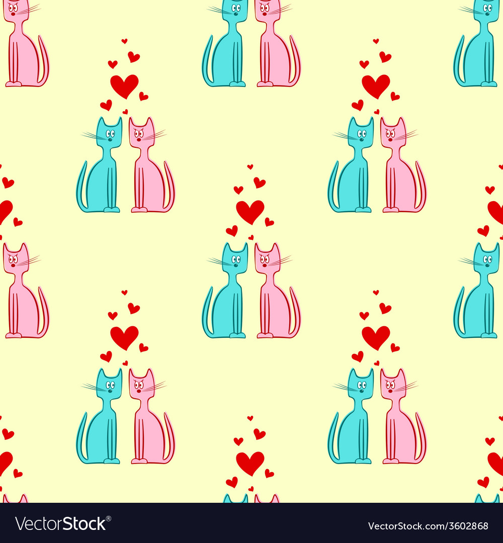 Seamless Pattern of Romantic Couple Cats vector image