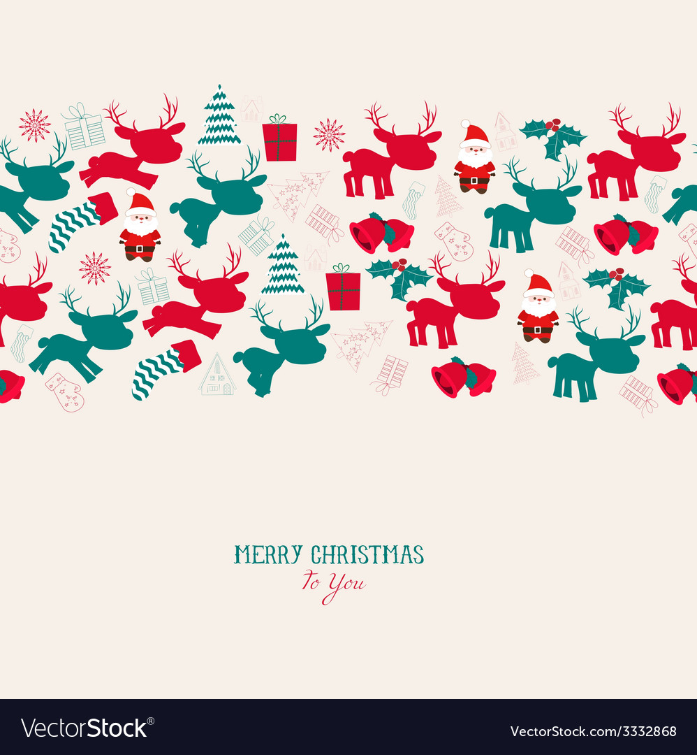 Vintage christmas reindeer seamless pattern vector image