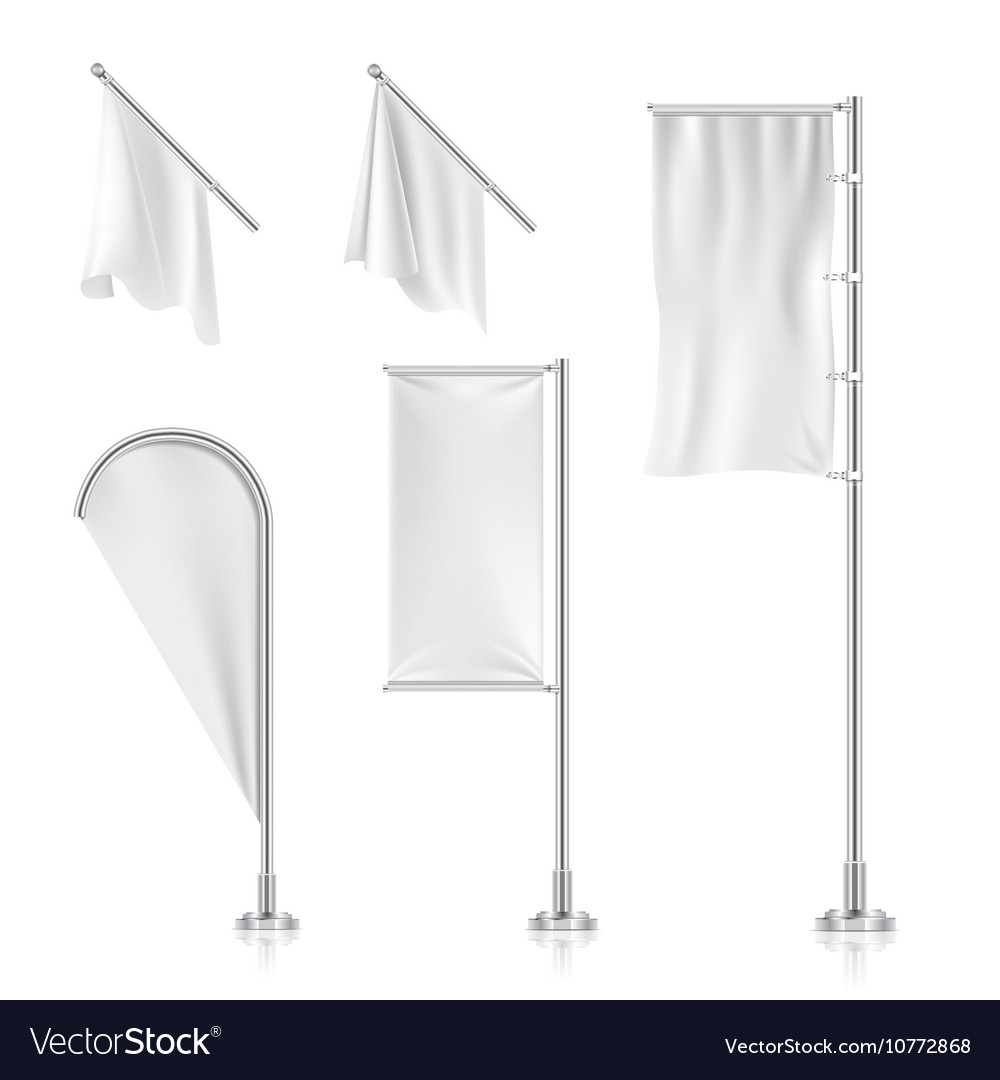 White blank banners advertising beach teardrop vector image