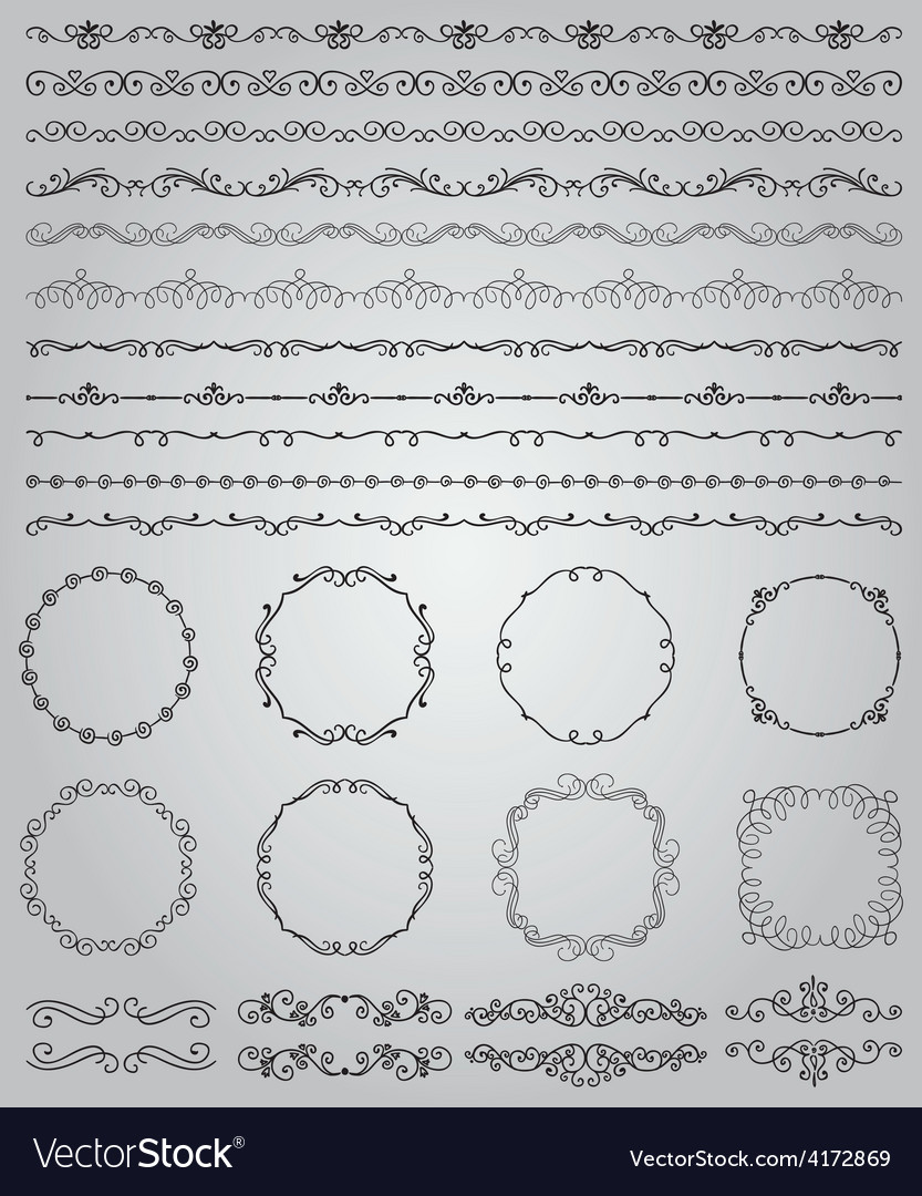 Black Hand Drawn Doodle Borders and Frames vector image
