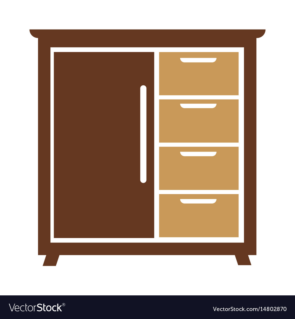 Chest of drawers icon isolated vector image