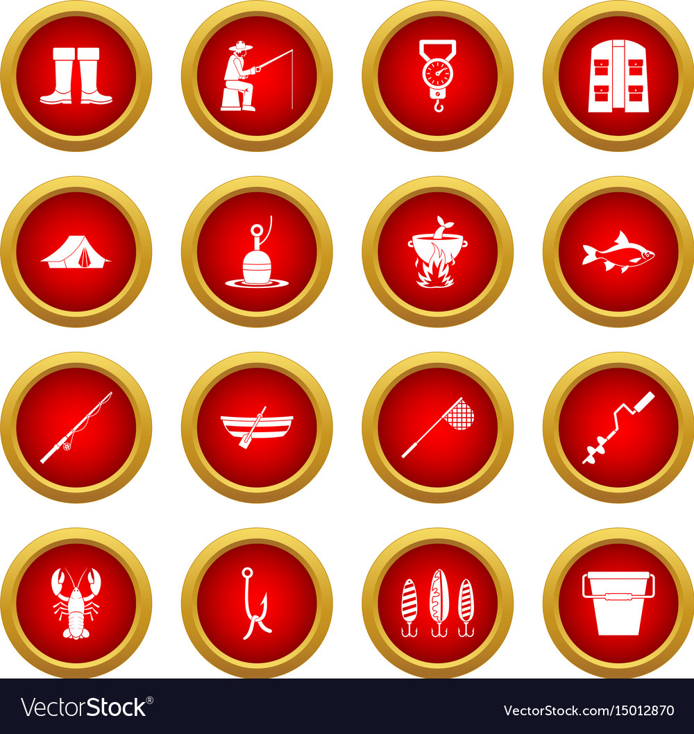 Fishing tools icon red circle set vector image