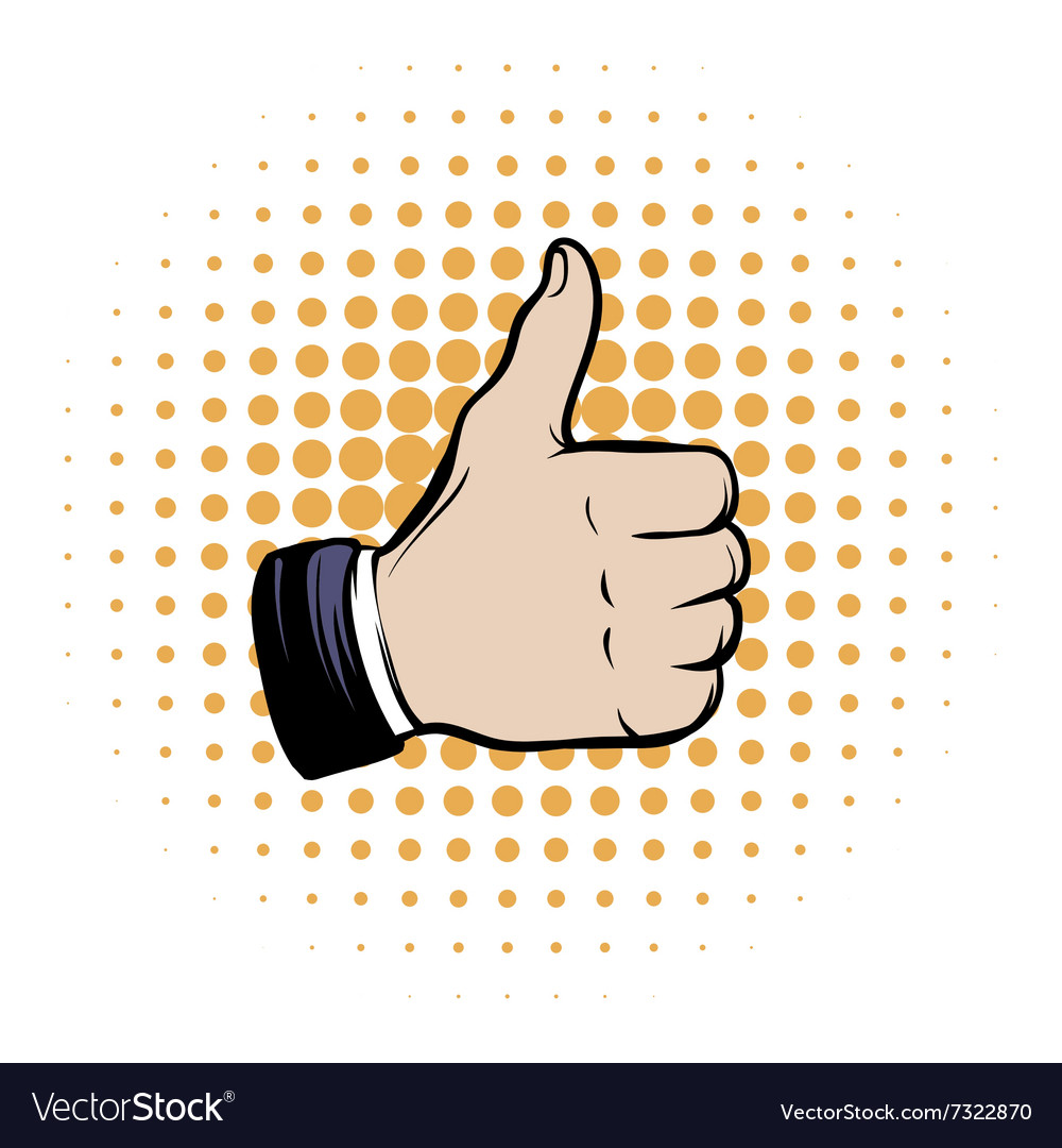 Hand doing a thumb up comics icon vector image