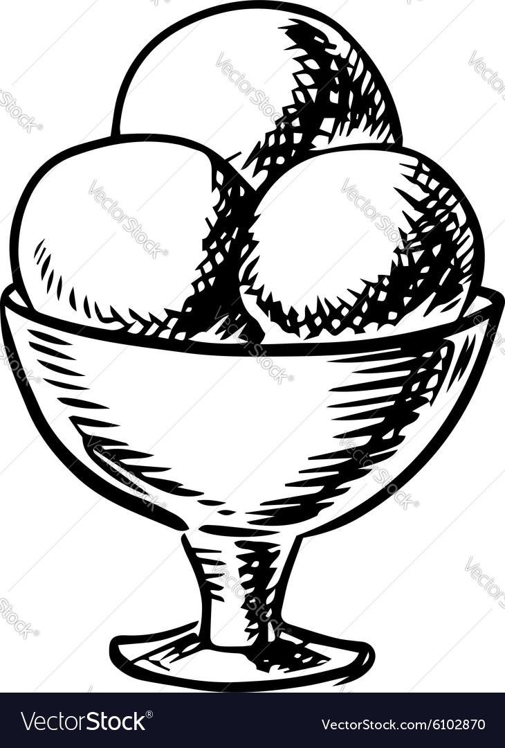 Sketch of ice cream scoops in sundae bowl Vector Image