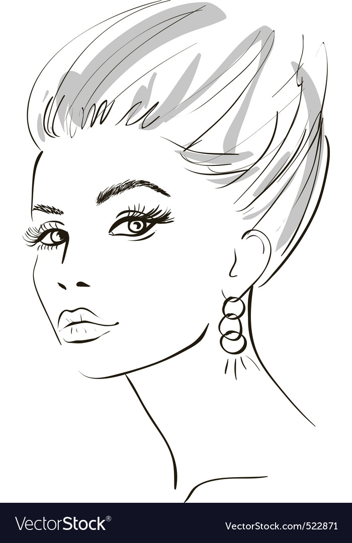Stylish woman sketch vector image