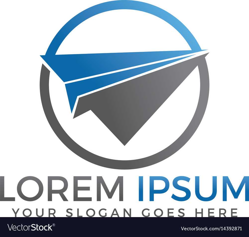 Paper plane travel logo design vector image