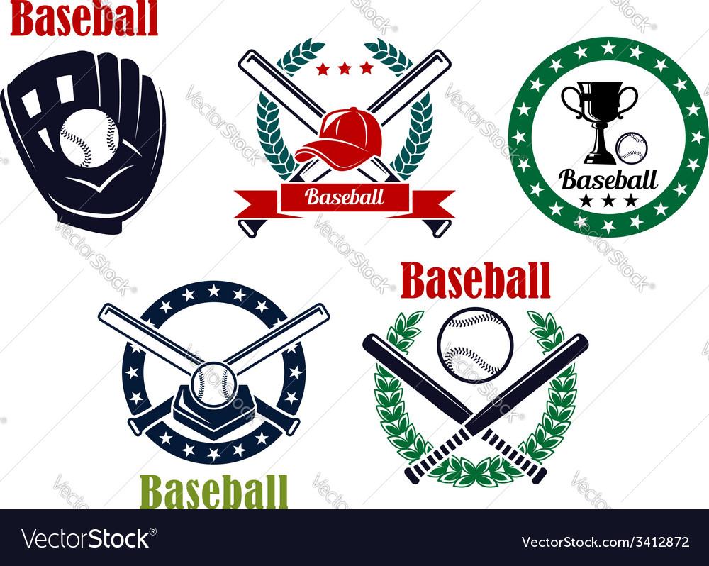 Baseball heraldic emblems set vector image