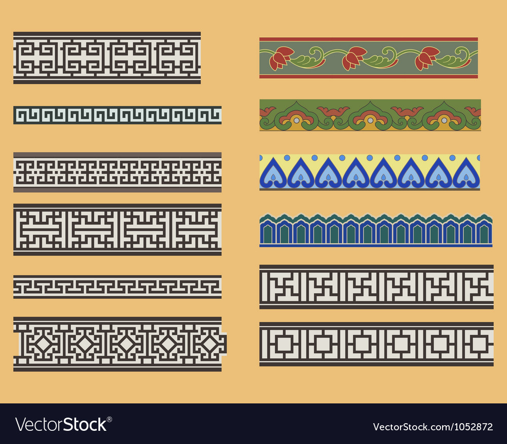 Chinese seamless linear ornaments vector image