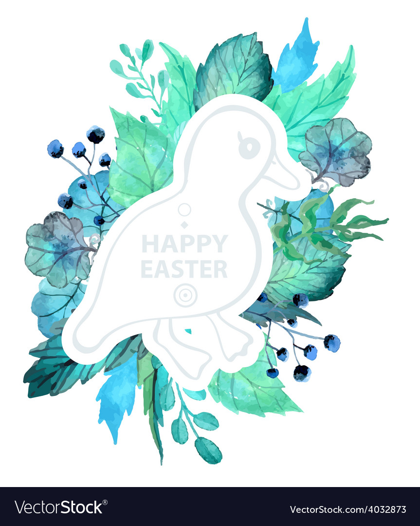 Easter watercolor natural with duckling sticker vector image