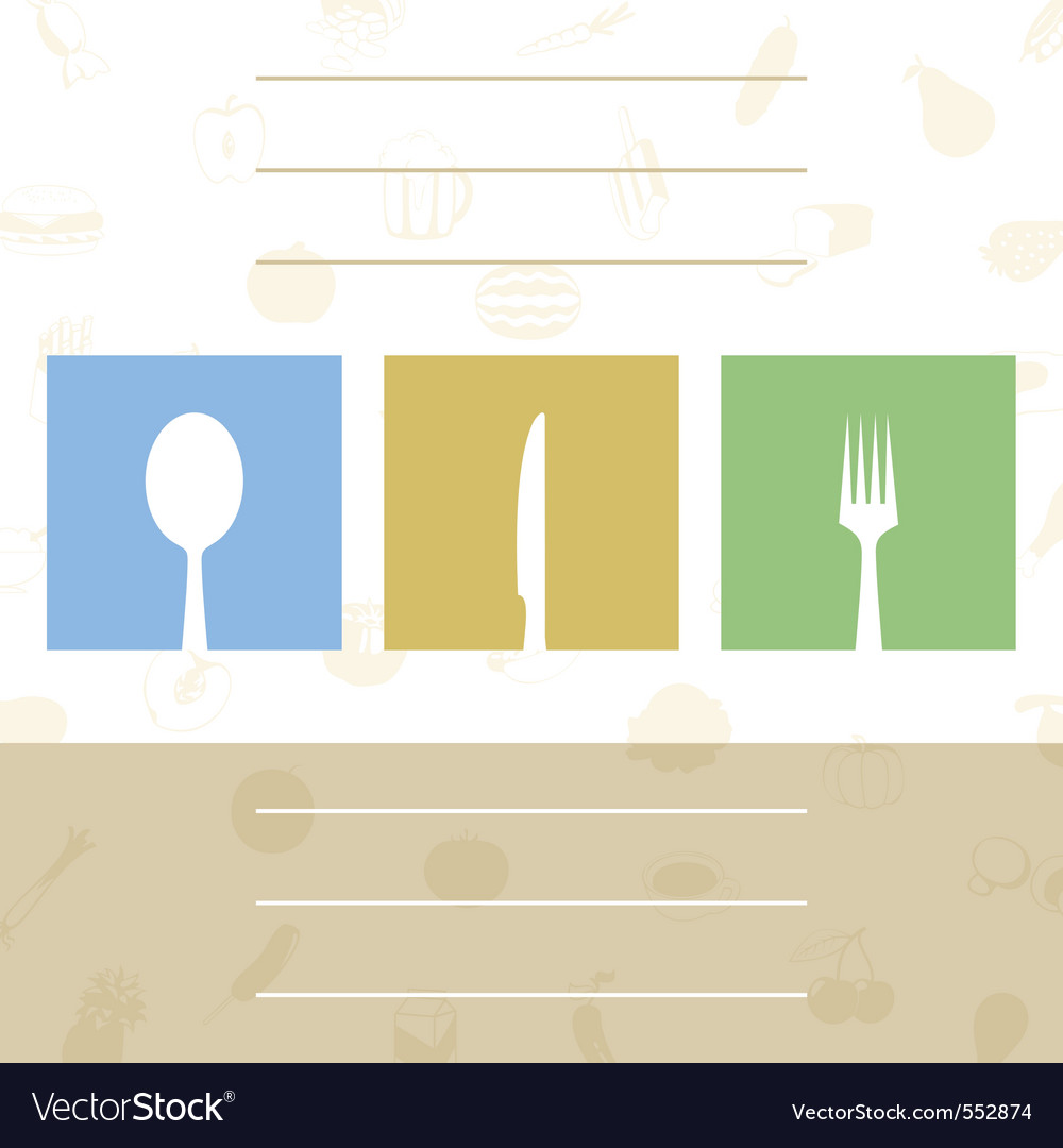Menu for cafe with tablewares a vector illustratio vector image
