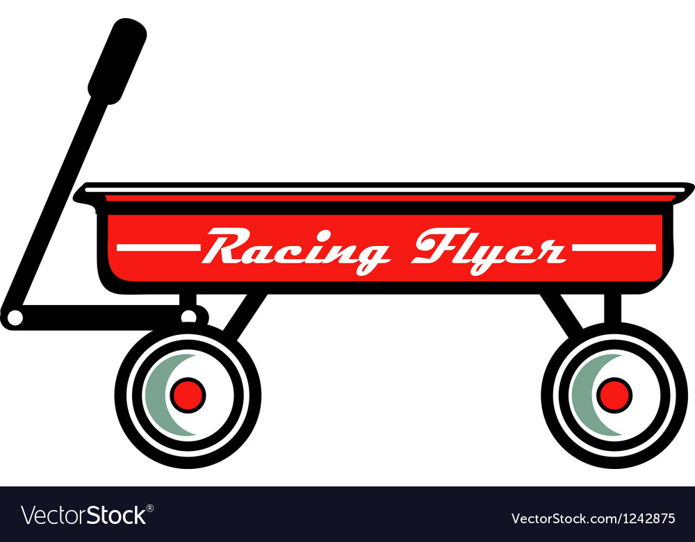 Little red toy wagon vector image