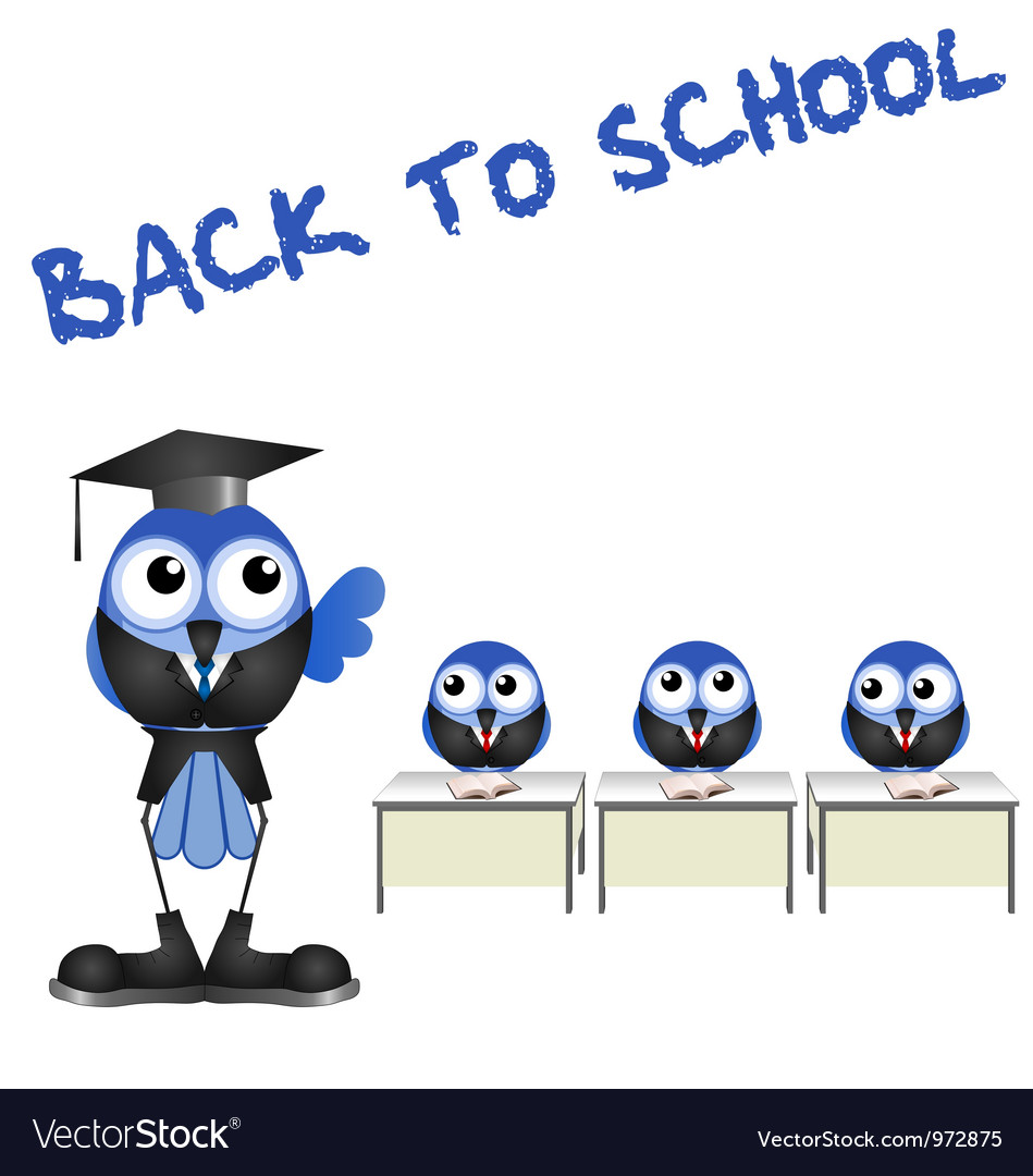 BIRD BACK TO SCHOOL vector image