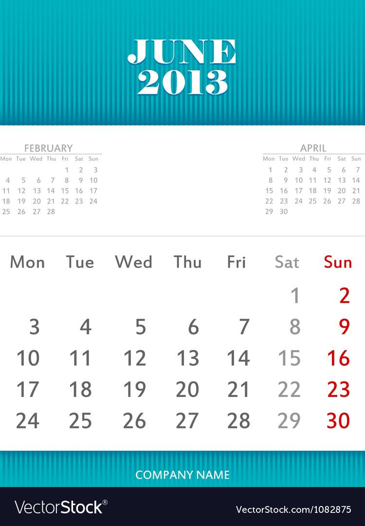 June Calendar Vector : June calendar design royalty free vector image