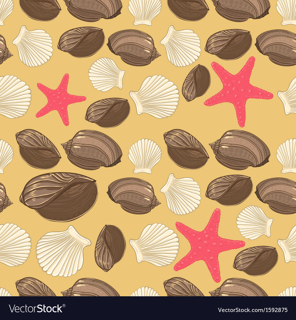 Seamless background with shells starfish vector image