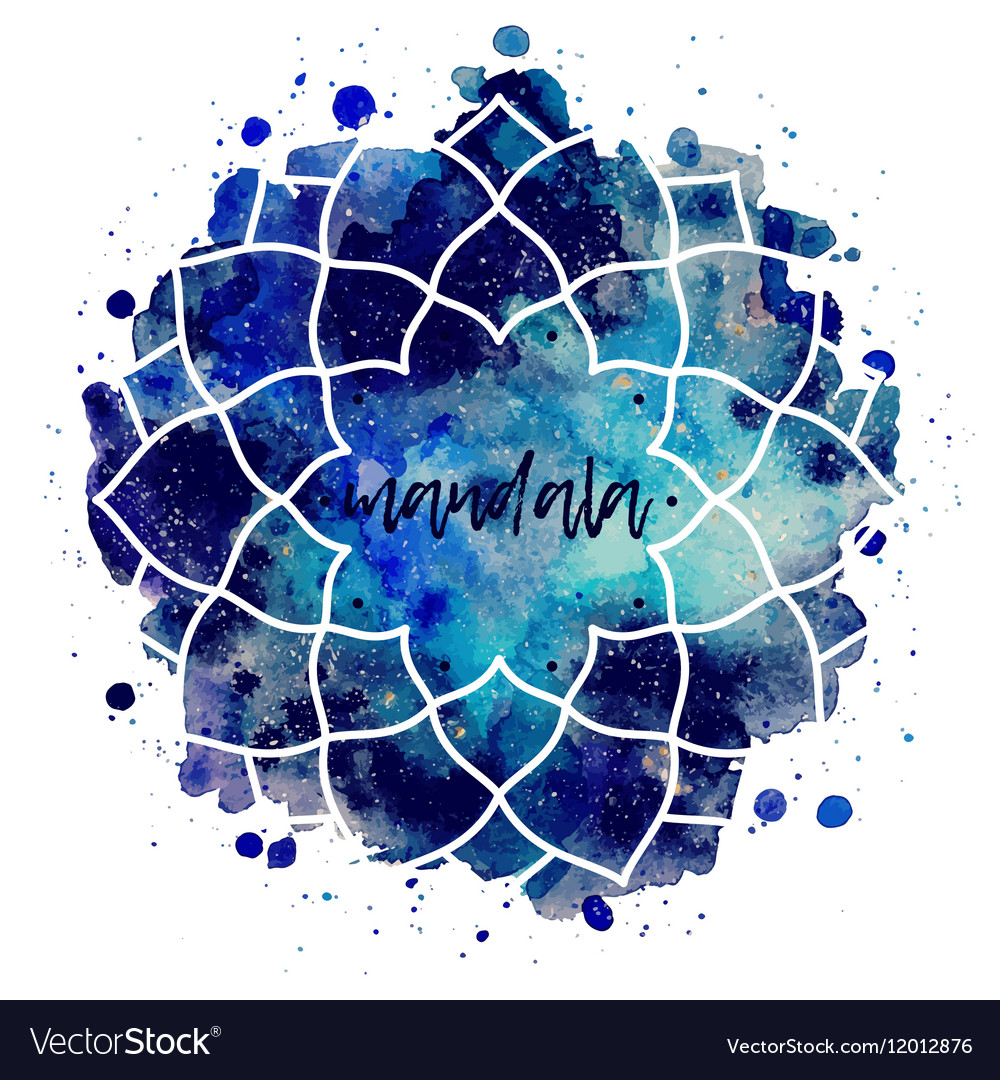 Watercolor geometric cosmic frame vector image