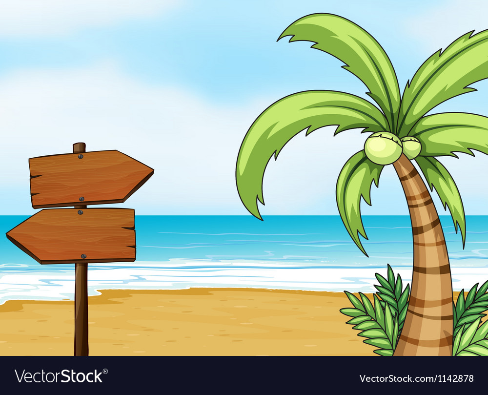 Blank signboard made of wood vector image