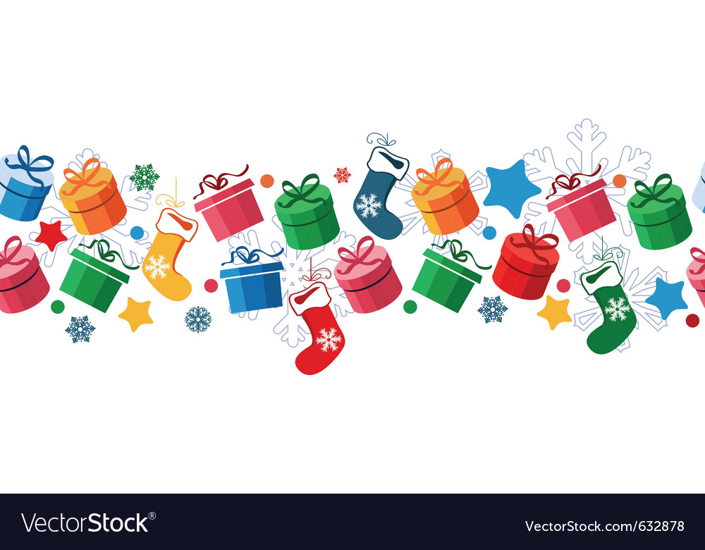 Border with christmas gift boxes Royalty Free Vector Image