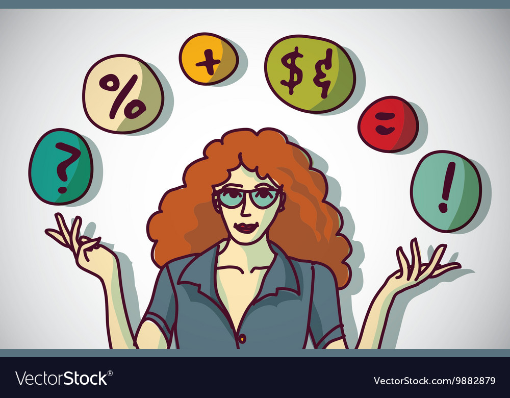 Pretty young woman and business symbol vector image
