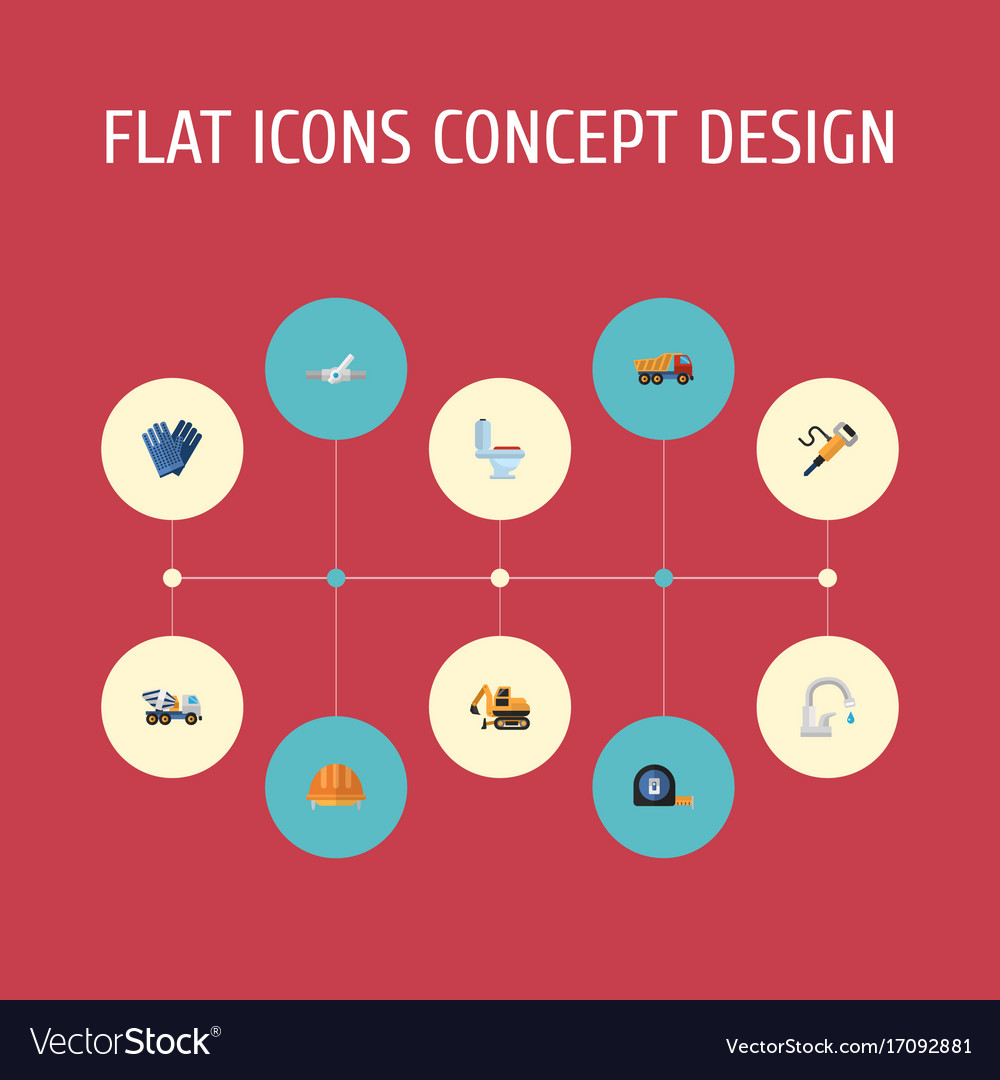 Flat icons mitten cement blender pneumatic and vector image