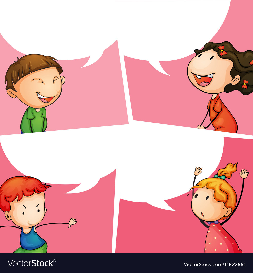 Label design with boys and girls vector image