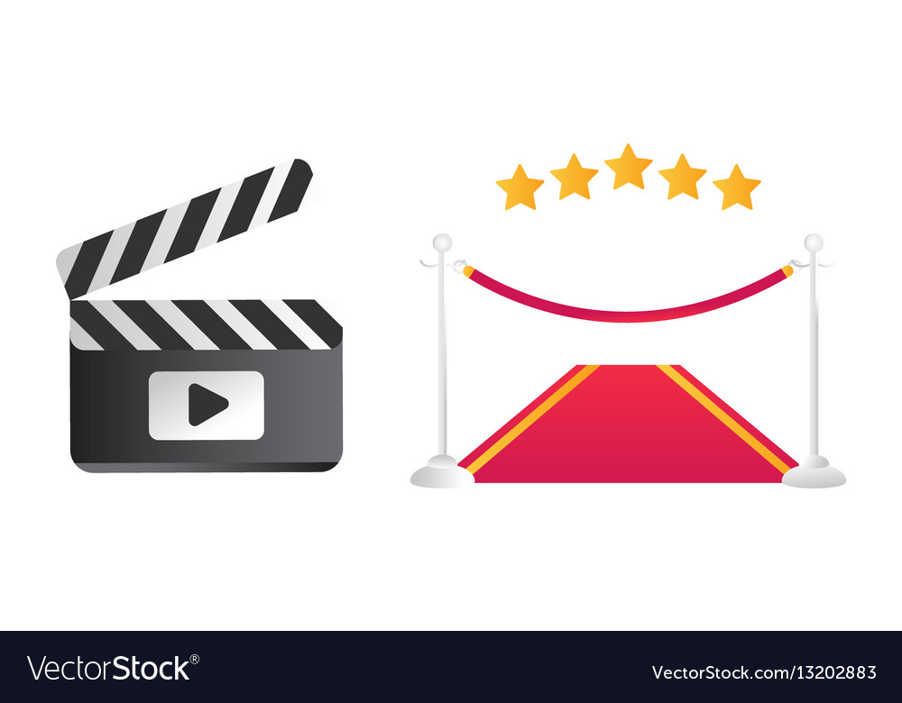 Clapper board and red road vector image